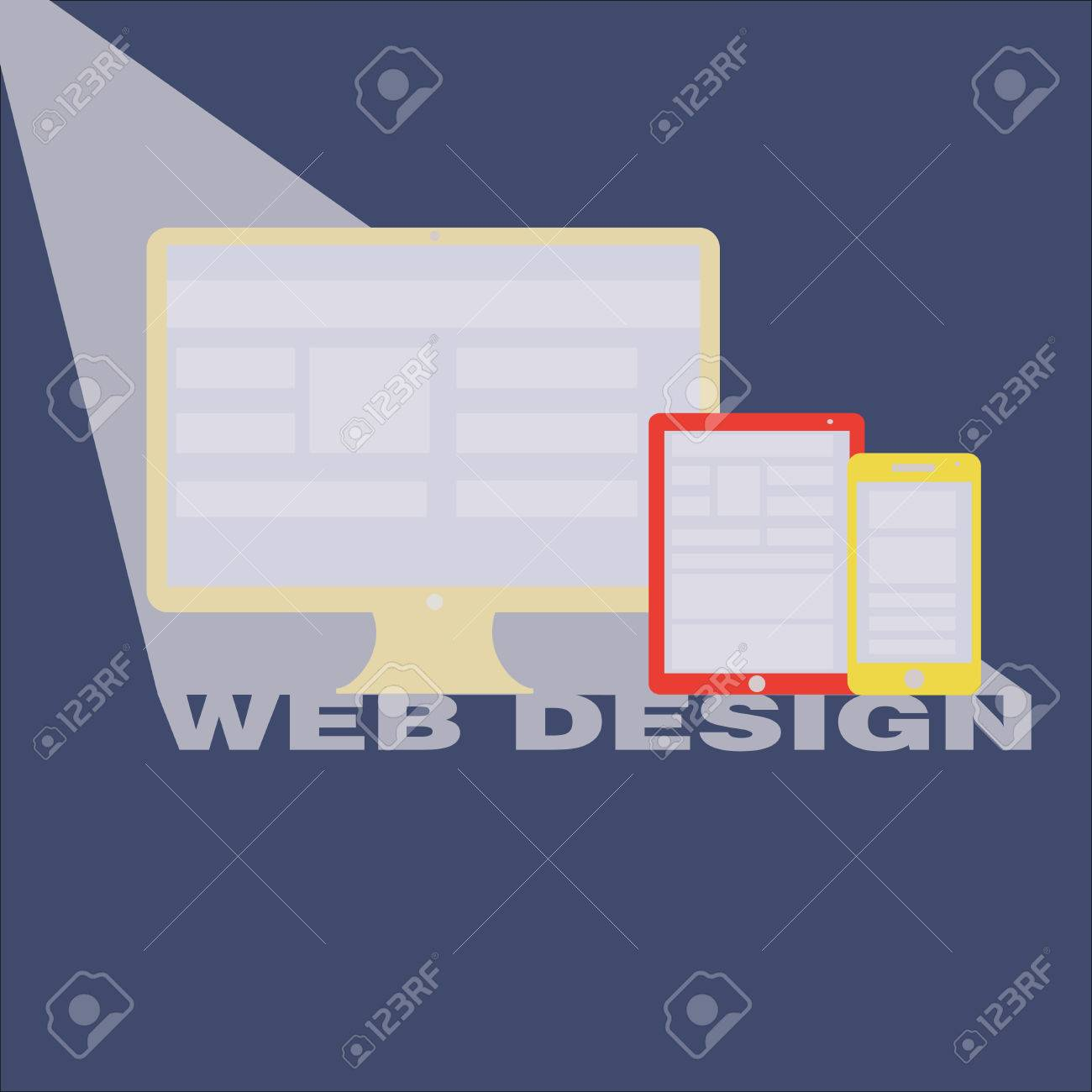 Web Design concept with Computer Technology and Smart Phone with Tablet PC screen showing interface in vector Stock Vector - 24256122