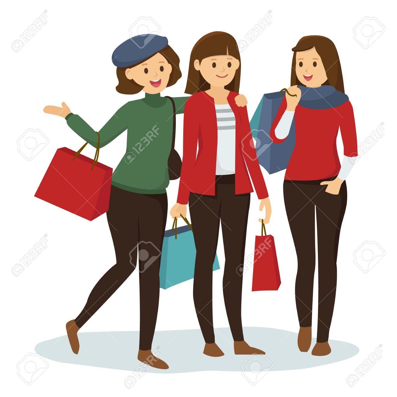 Gruppe Von Freundinnen Einkaufen Gehen Für Weihnachten Lizenzfrei ...
