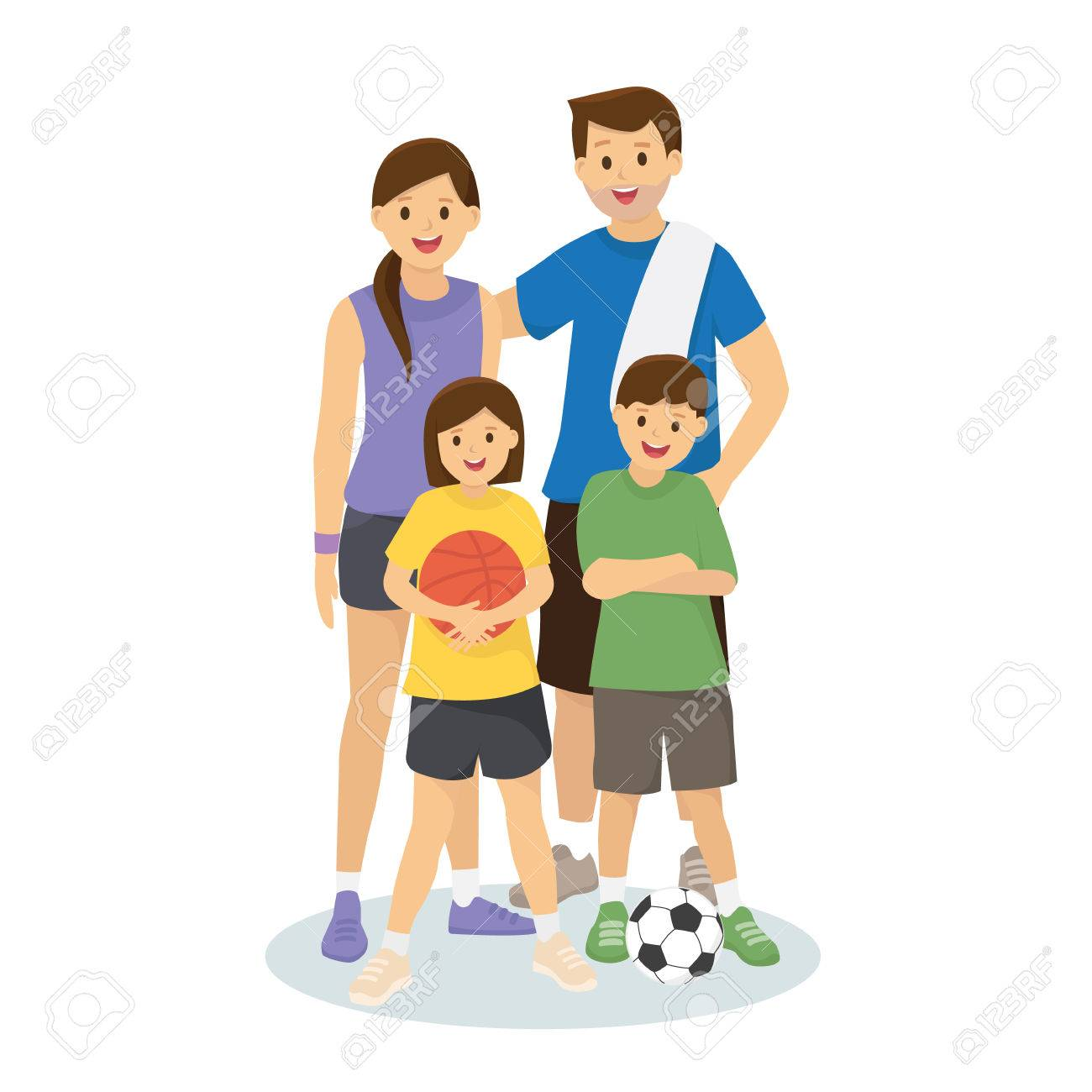new arrival 4ea98 45805 Family and kids in workout clothes with basketball and footbal