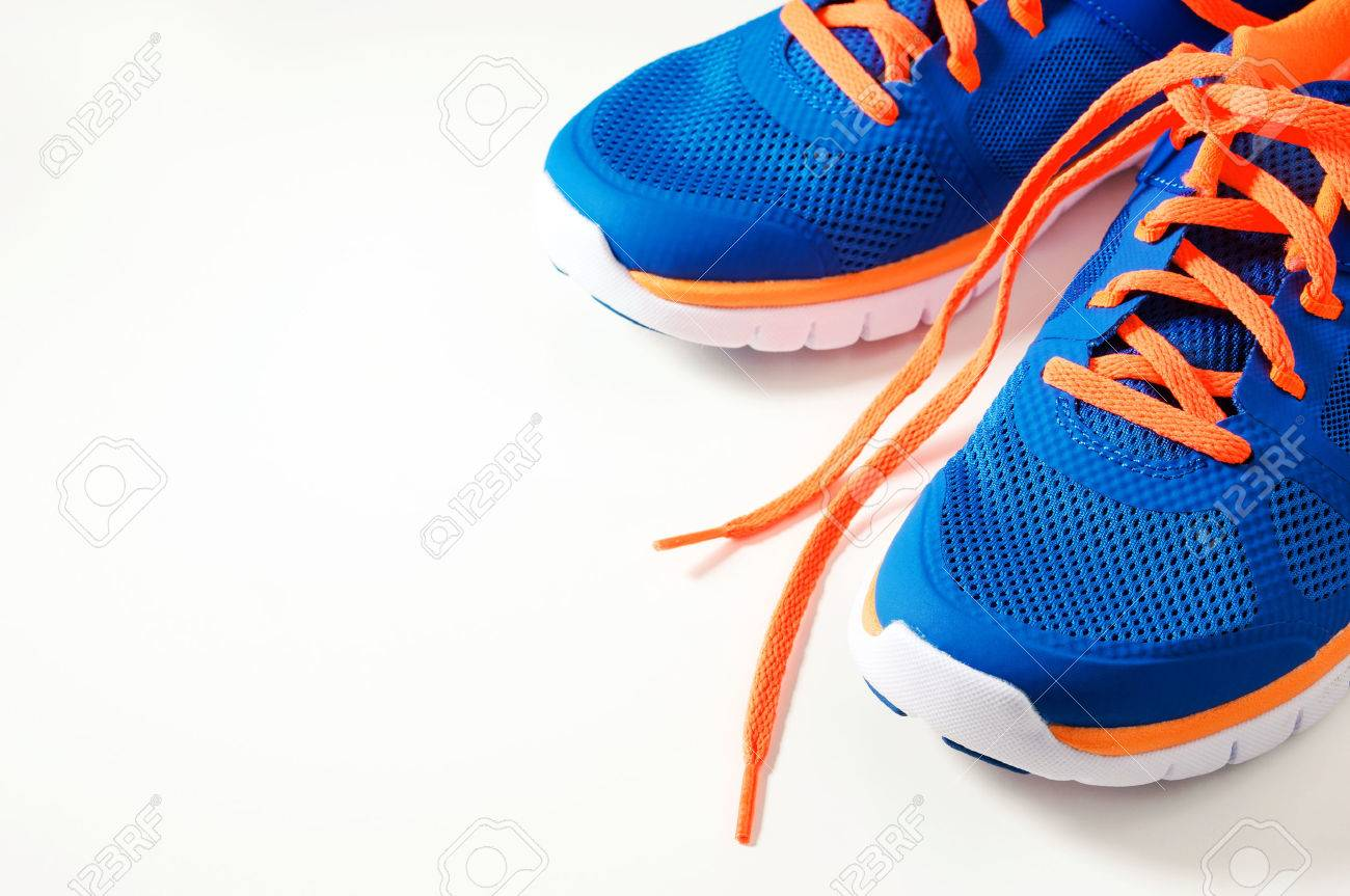 discount sale 100% top quality first look Blue Sport Running Shoes With Orange Shoelace Stock Photo, Picture ...