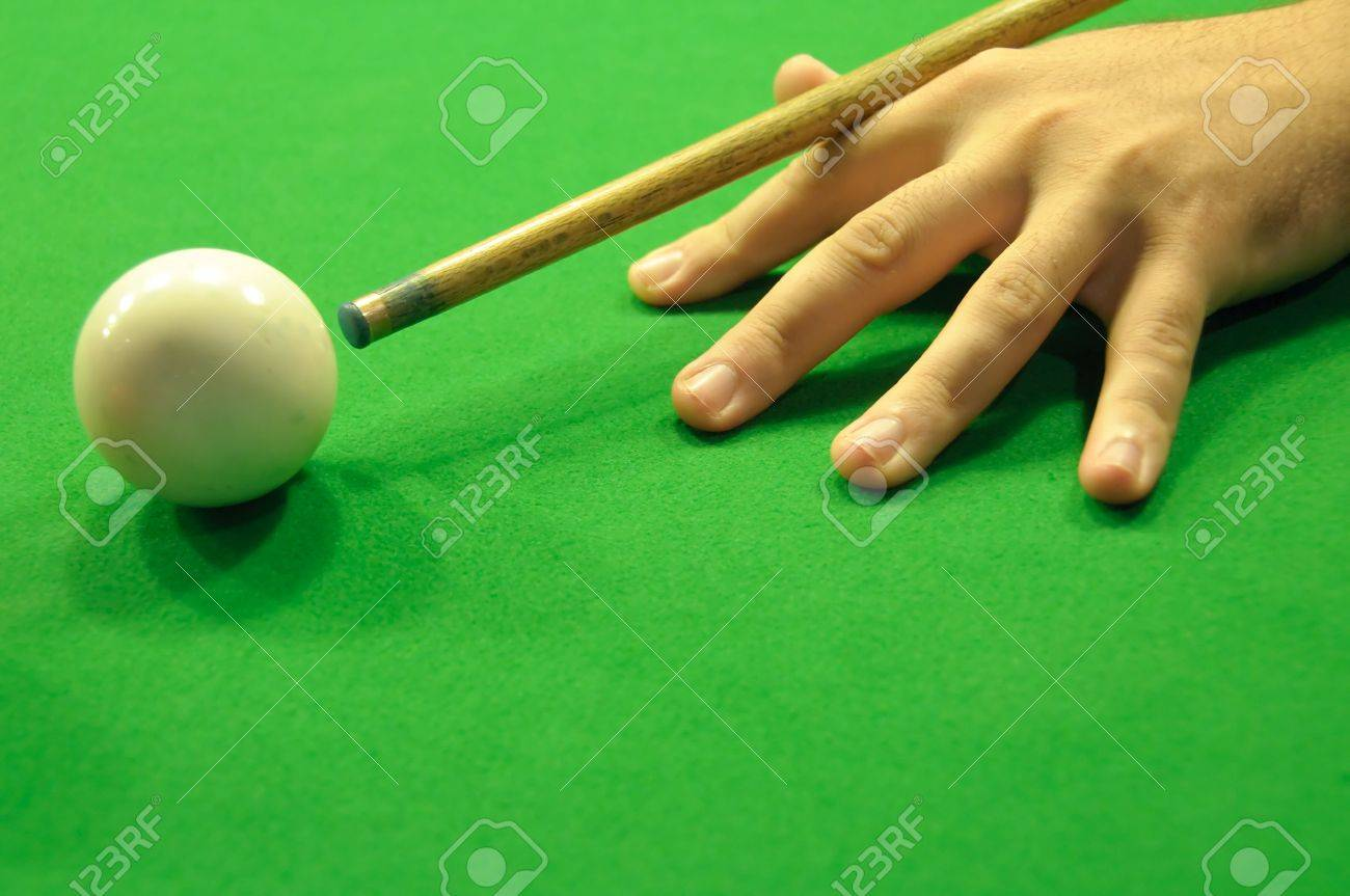 Professional hand and cue position when striking the cue ball