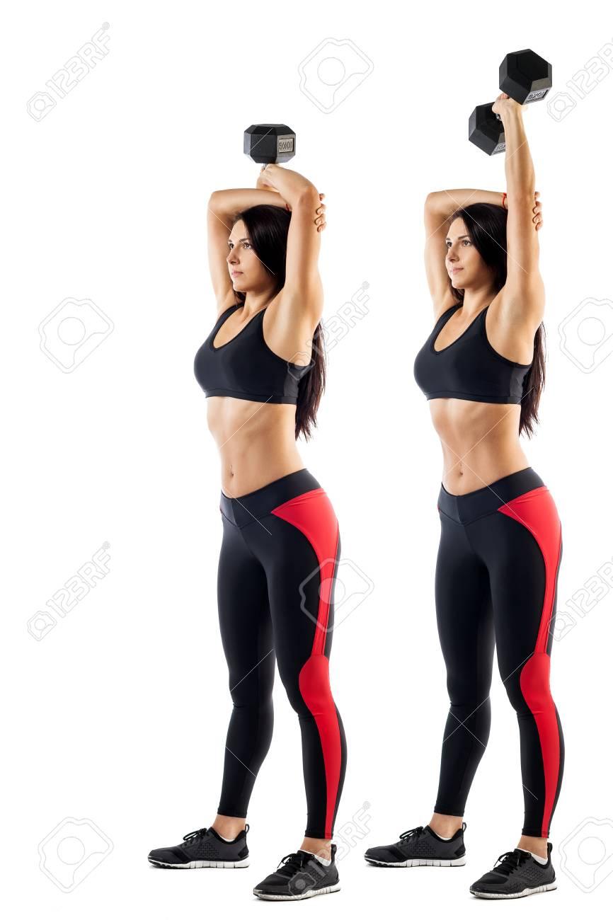 Super Junge Sportliche Frau Fitness Einer Brünette, Die Eine Übung Mit @XQ_69