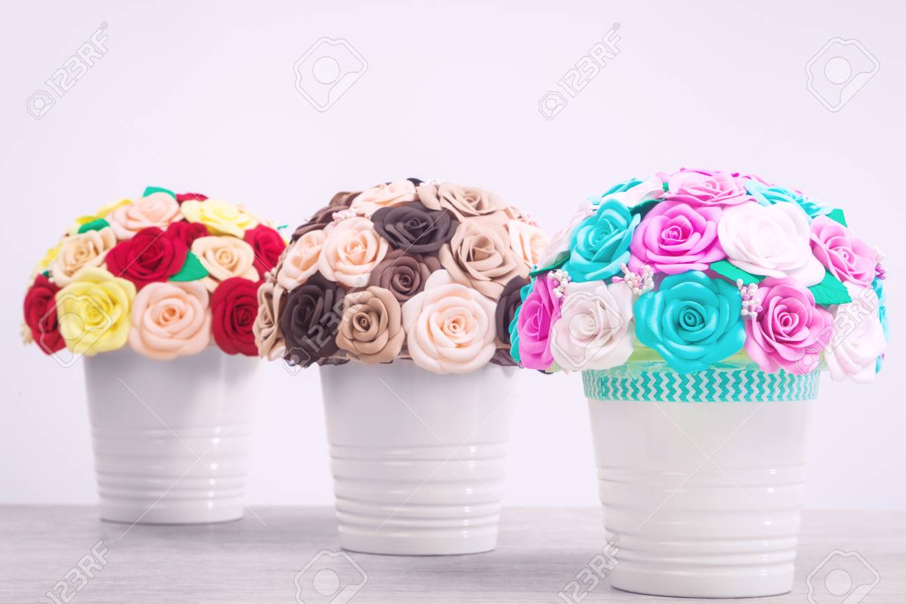 Artificial Flowers Of Roses From Foam Blue Pink White Red