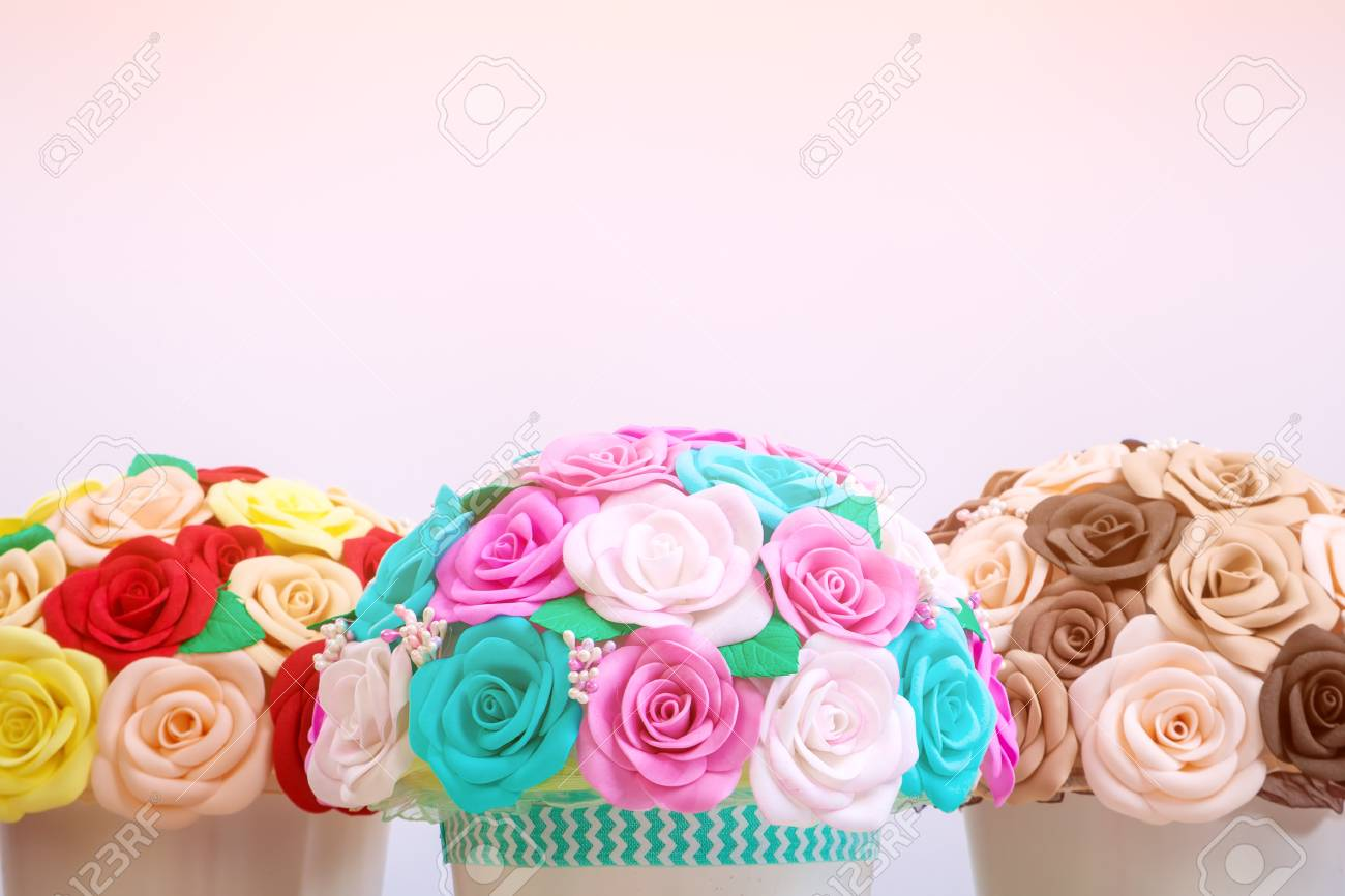 Artificial Flowers Roses From Foam Pink Blue And White Red