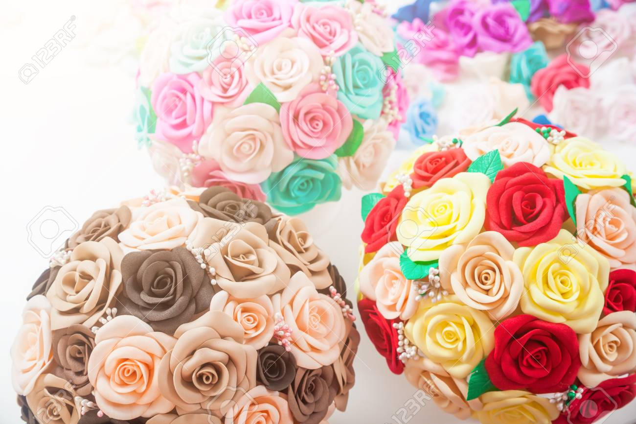 Artificial Flowers Of Roses From Foam Red Beige Yellow Blue