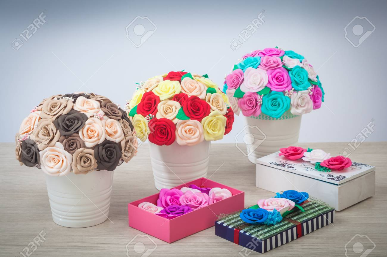 Artificial Flowers Of Roses From Foam Pink Blue And White Red