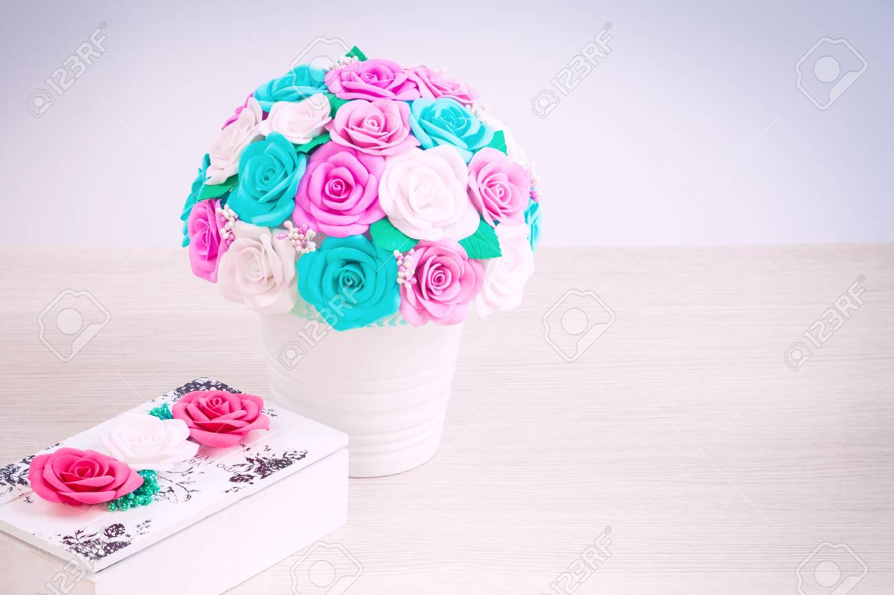 Artificial Greetings Roses From Foam Pink Blue And White Collected