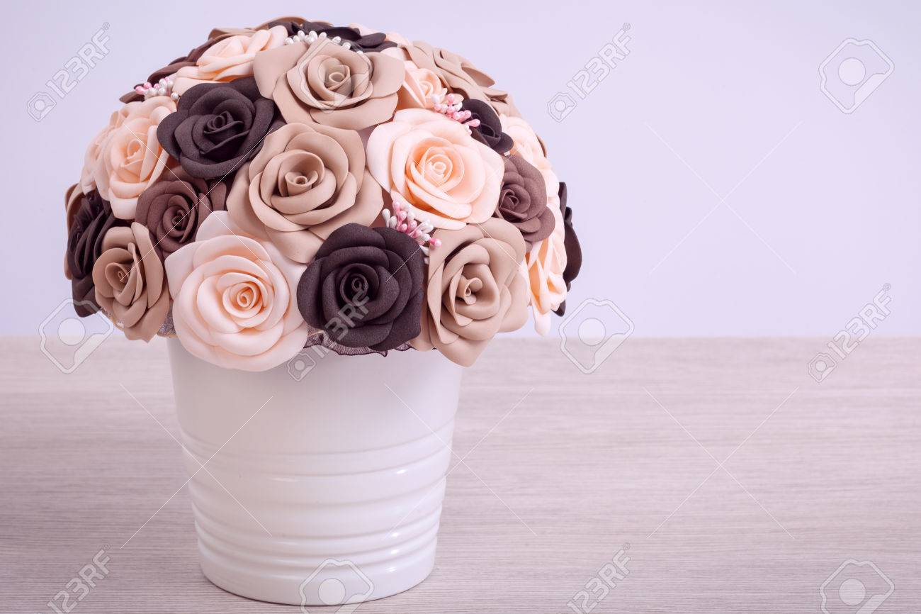 Brown Beige Peachy Artificial Flowers Of Roses From Foam