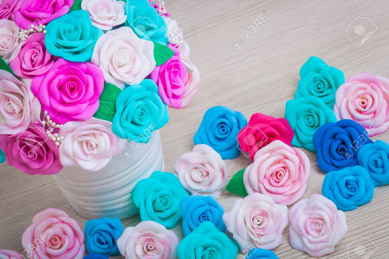 Flowers Roses From Foam Pink Red Blue White Blue Flowers Stock