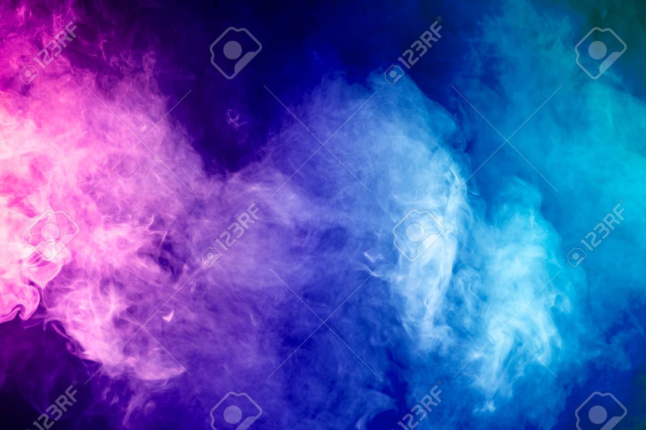 Blue Red Pink Abstract Cloud Of Smoke Pattern On A Black Isolated