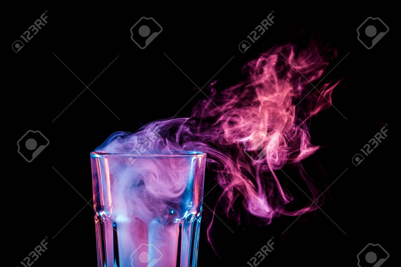New Glass With Soft Multi Colored Pink Smoke From Vape On A Black Stock Photo Picture And Royalty Free Image Image 97070414