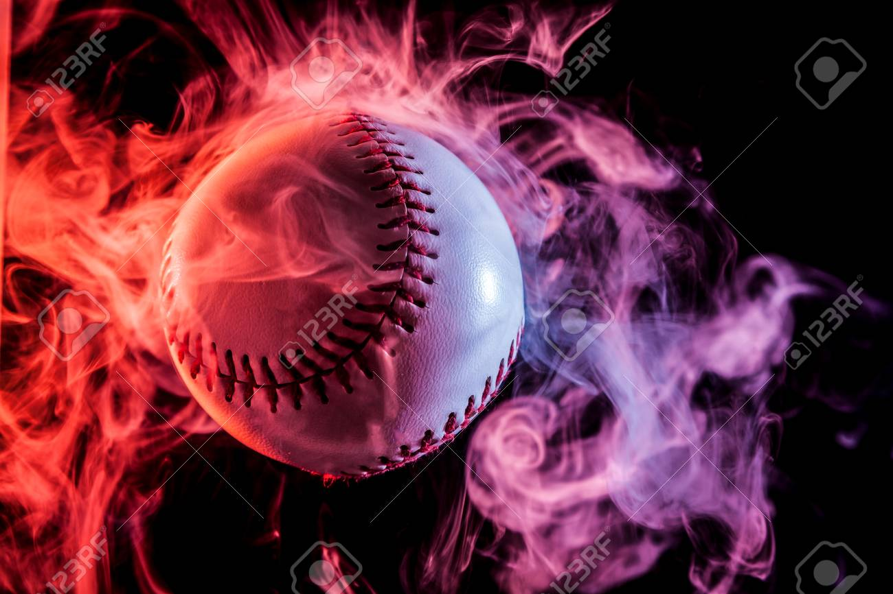 White Baseball Ball In Multi Colored Red Smoke From A Vape On Stock Photo Picture And Royalty Free Image Image 97371775
