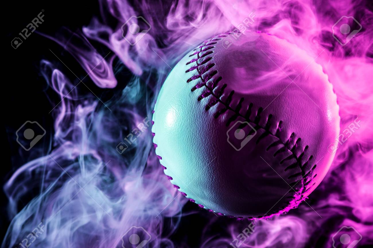 Colorful Baseball Ball In Multi Colored Red Smoke From A Vape Stock Photo Picture And Royalty Free Image Image 97371801