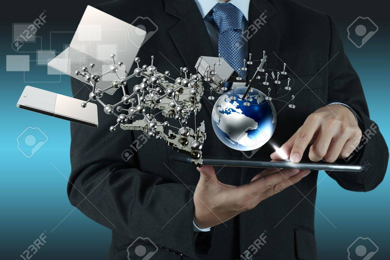 businessman shows modern technology as concept Stock Photo - 16706743