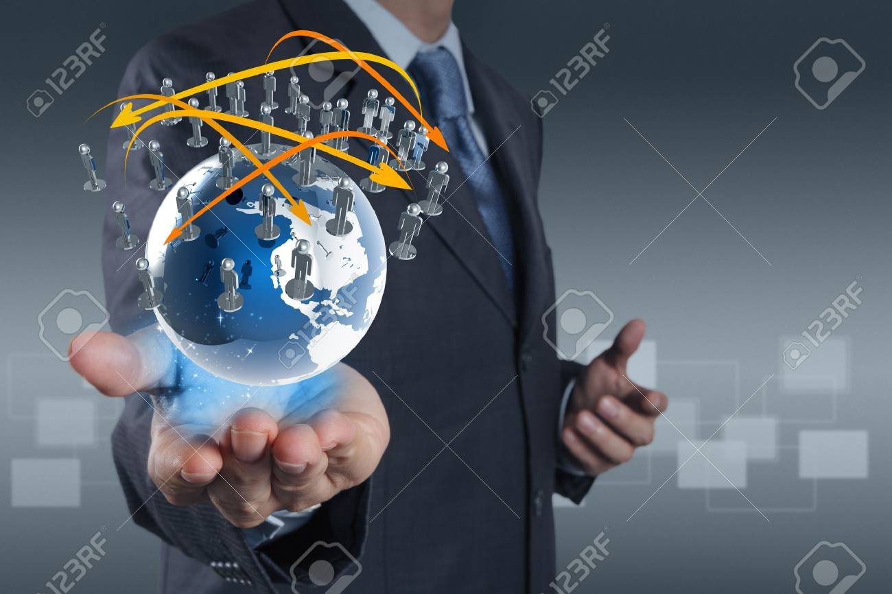 businessman hand holds social network as concept Stock Photo - 16706583