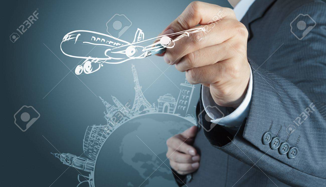 businessman hand draws dream travel around the world Stock Photo - 16695311