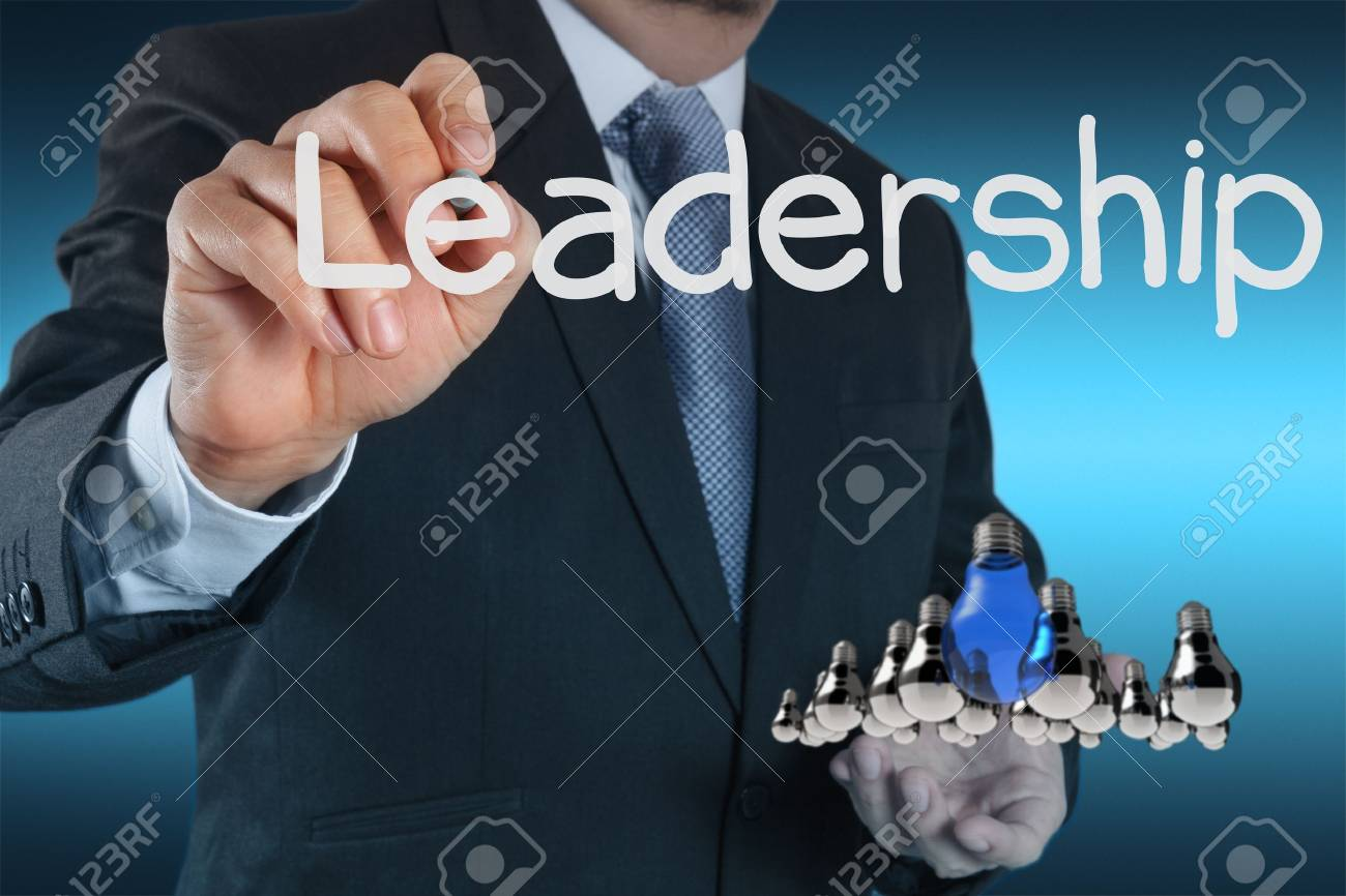businessman hand shows light as leadership concept Stock Photo - 16707048