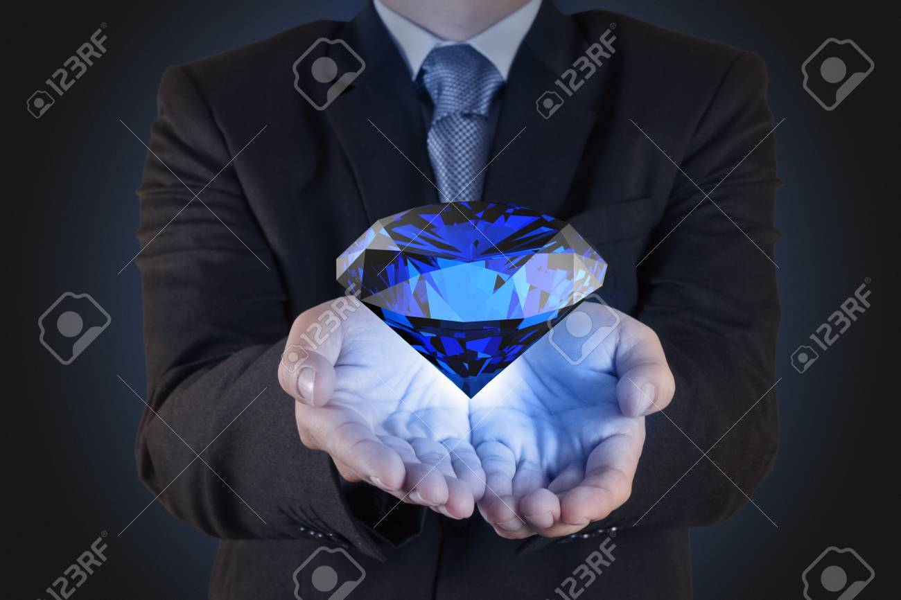 businessman hand show diamond as business chart concept Stock Photo - 16706671