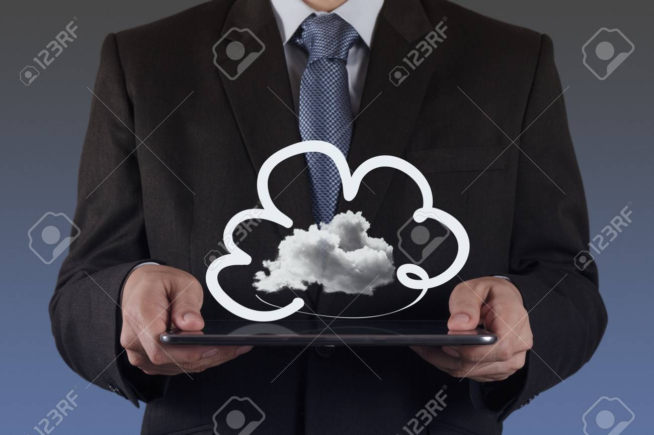 Businessman drawing a Cloud Computing diagram on the new computer interface Stock Photo - 16707172