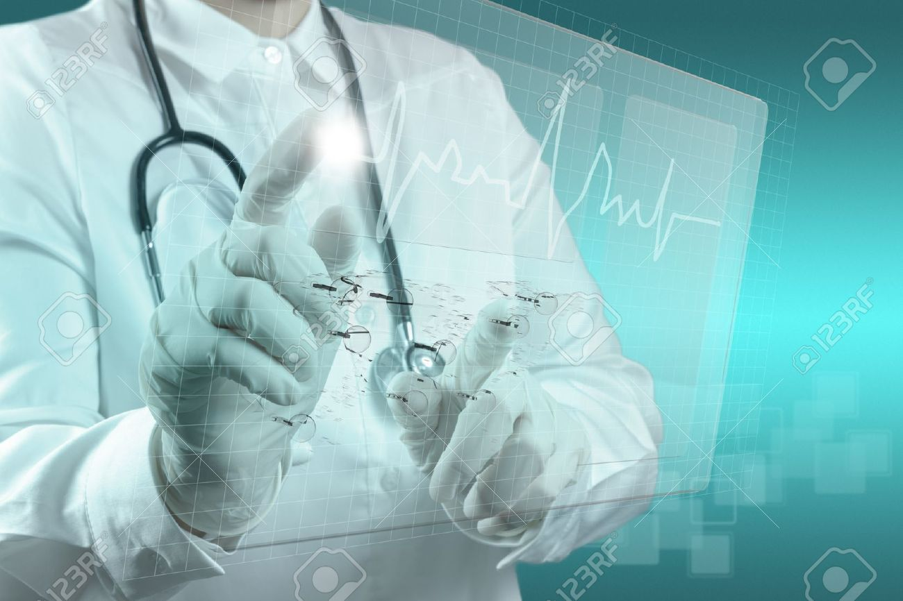 Medicine doctor working with modern computer interface Stock Photo - 16704595
