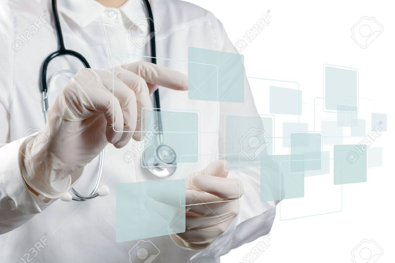 Medicine doctor working with modern computer interface Stock Photo - 16704426