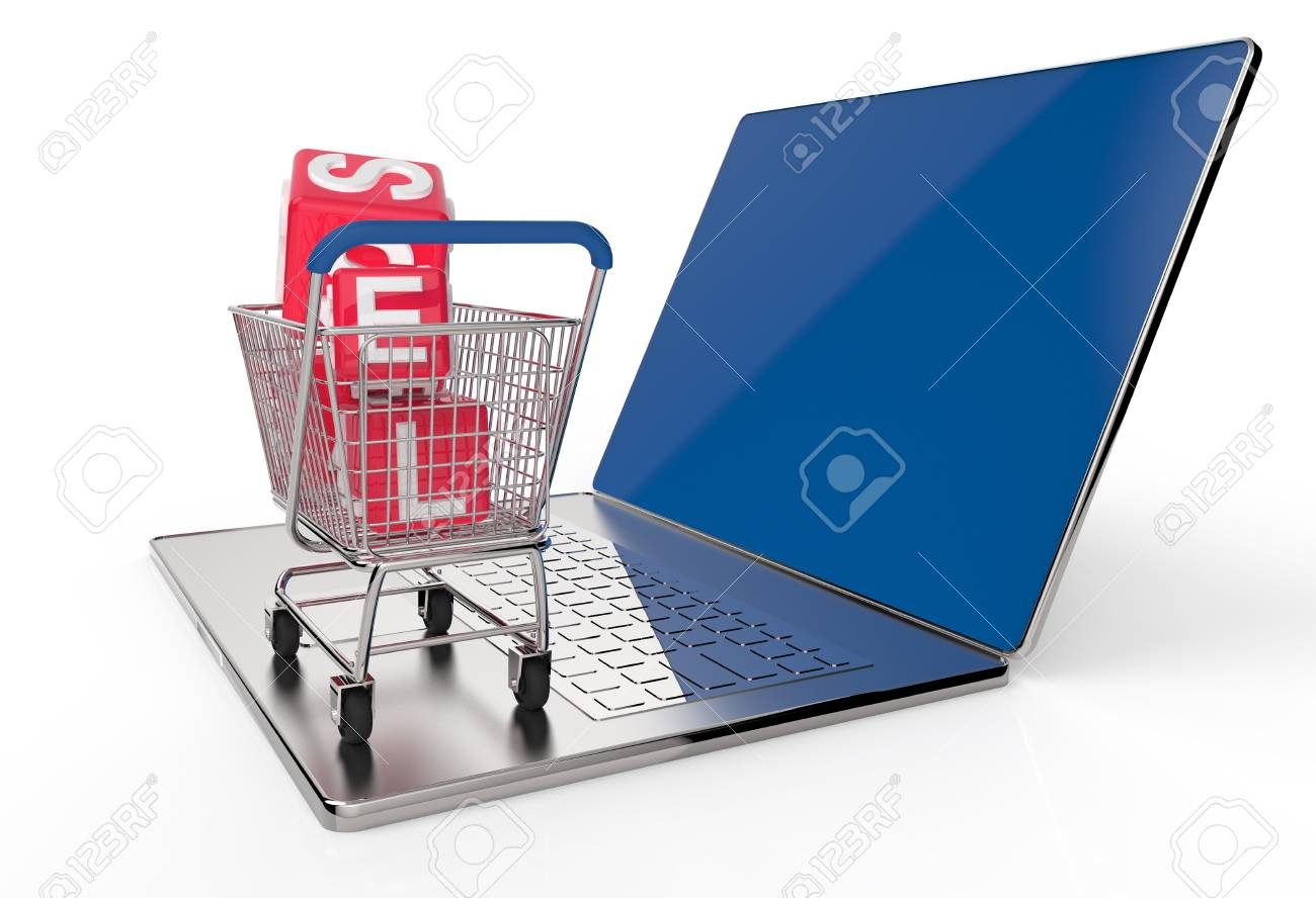 On line shopping concept on white background Stock Photo - 16712983