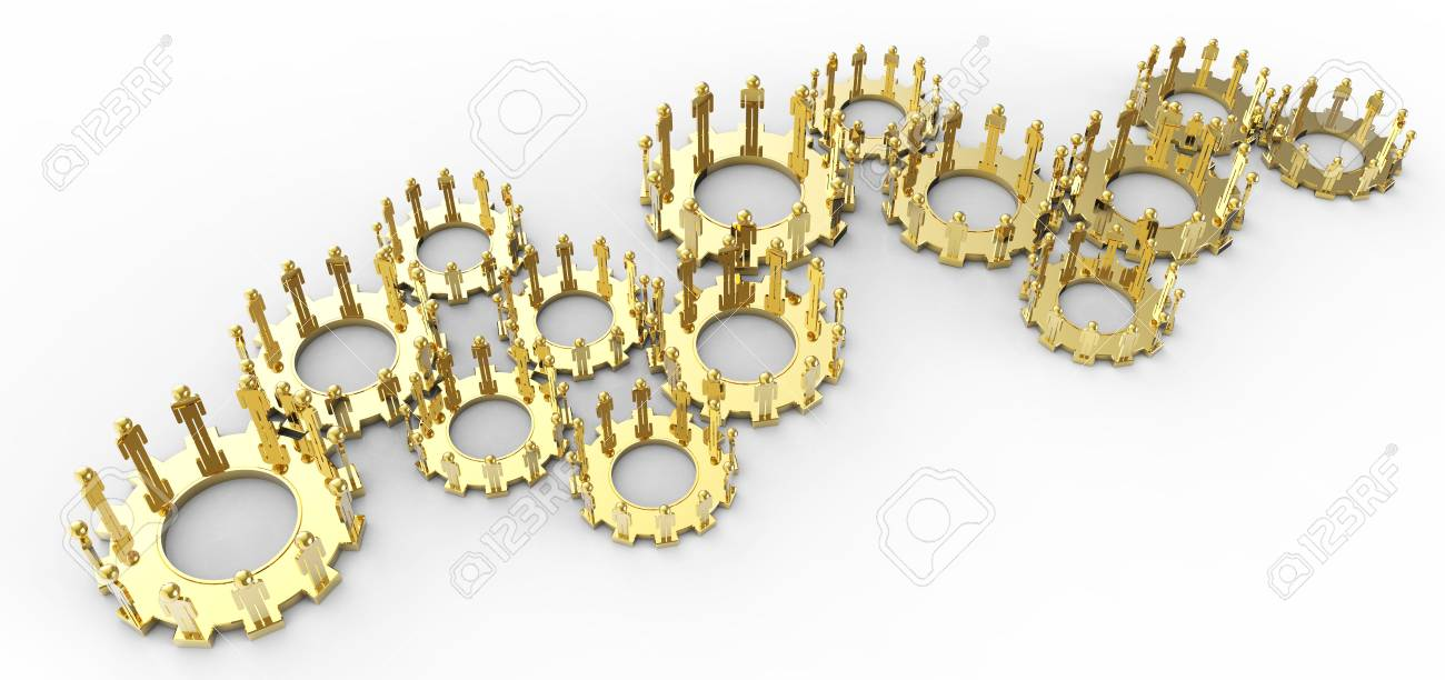 Model of 3d figures on connected cogs as industry concept Stock Photo - 16713092