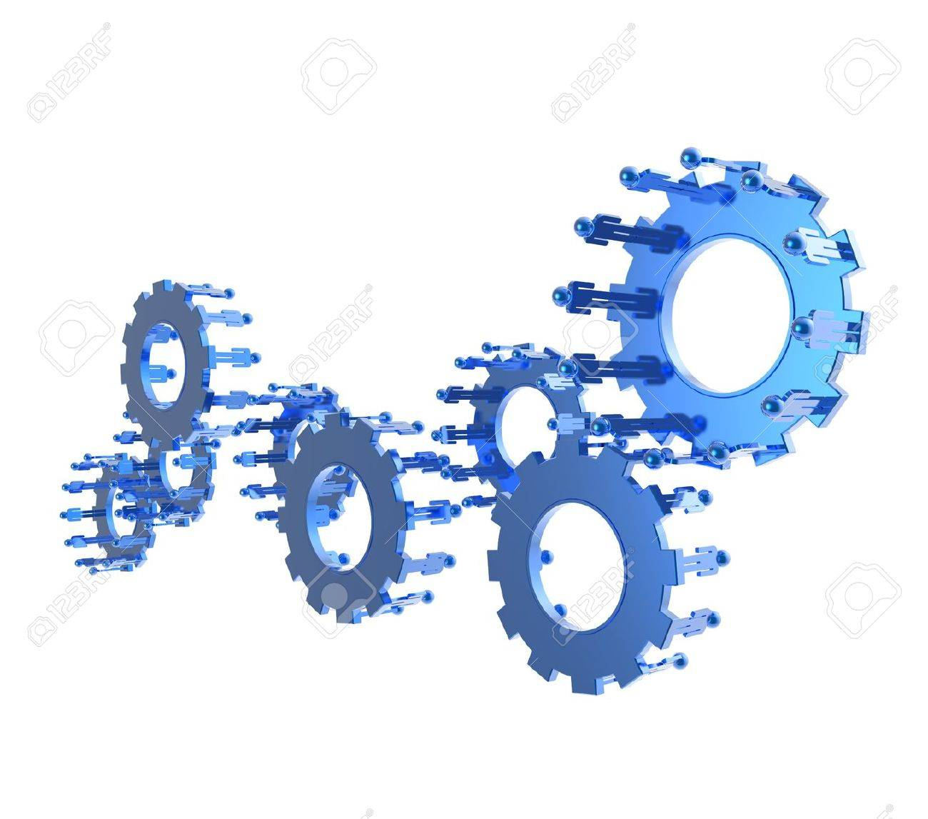 Model of 3d figures on connected cogs as industry concept Stock Photo - 16712943