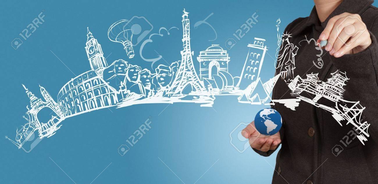 businesswoman draws dream travel around the world - 16707749