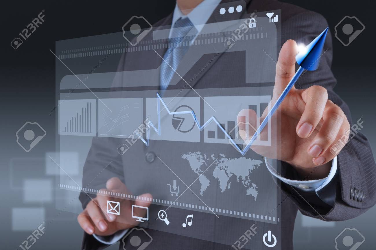 businessman hand touch 3d virtual chart business Stock Photo - 17156975