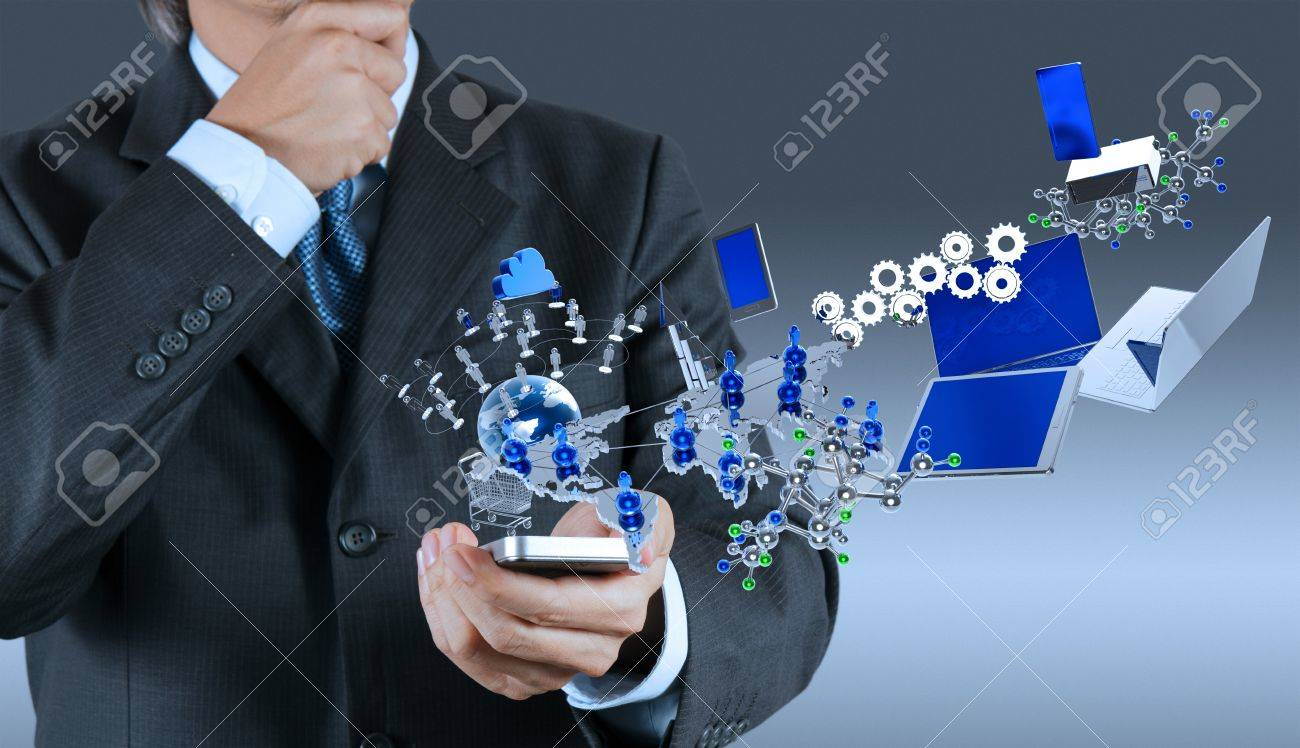 Mobile phone in the hand on blue background Stock Photo - 17156928