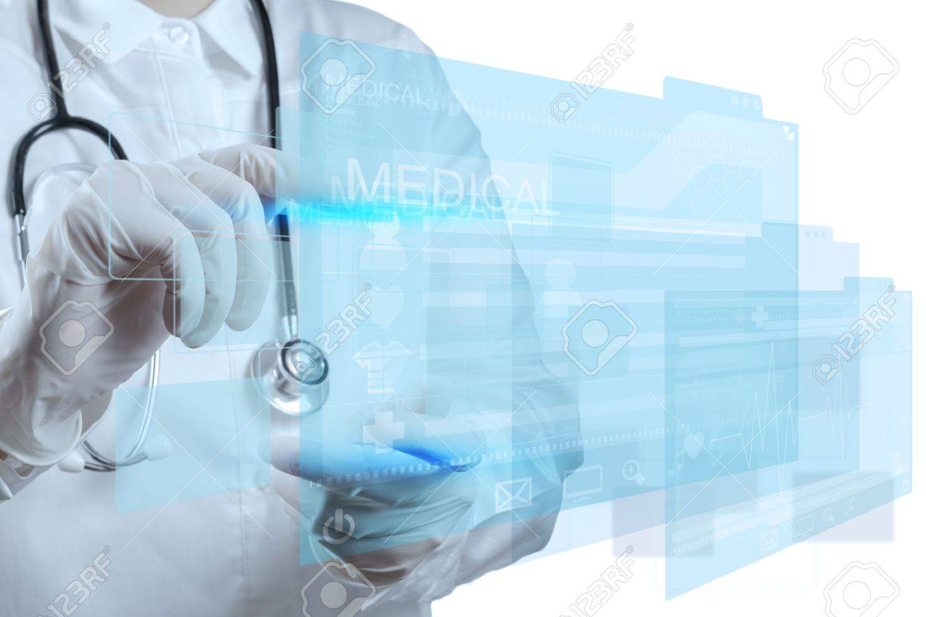 Medicine doctor working with modern computer interface Stock Photo - 17157163
