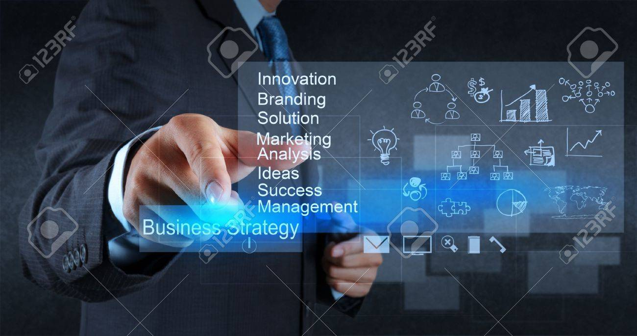 Businessman Hand Points To Business Strategy Diagram As Concept ...