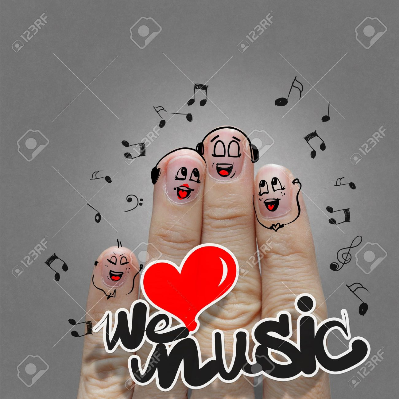 the happy finger family holding we love music and sing a song Stock Photo - 17541883