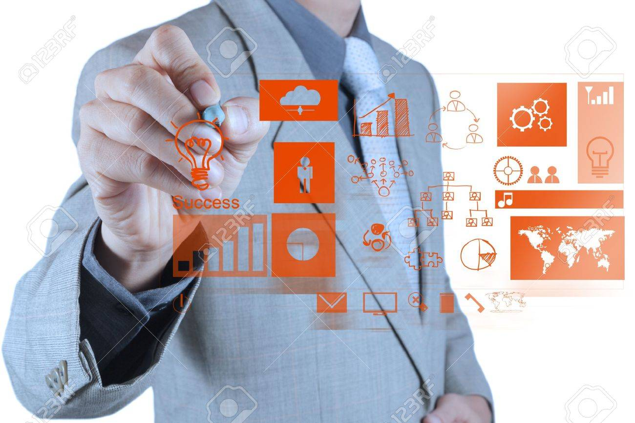 businessman hand working with new modern computer and business success as concept Stock Photo - 18237538