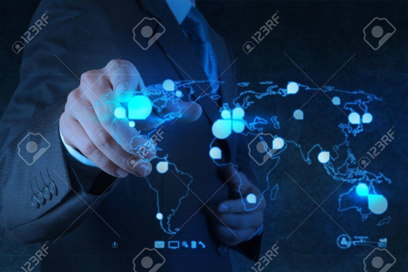 businessman working with new modern computer show social network structure Stock Photo - 18237542