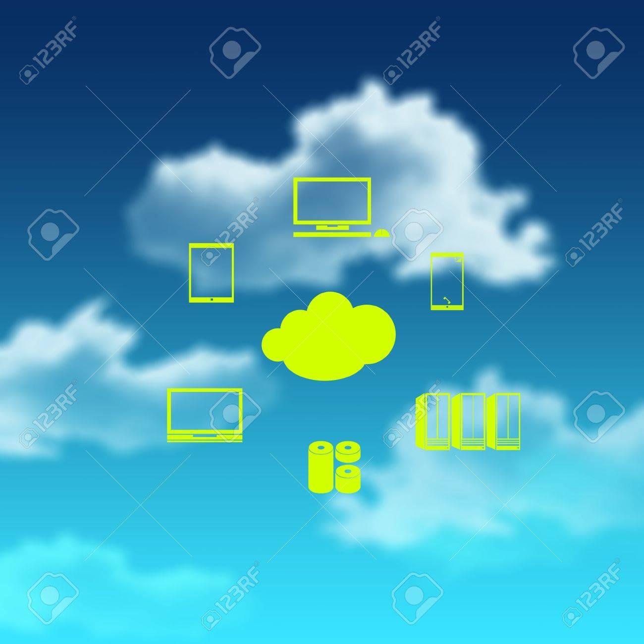 a Cloud Computing diagram as concept Stock Photo - 18237265