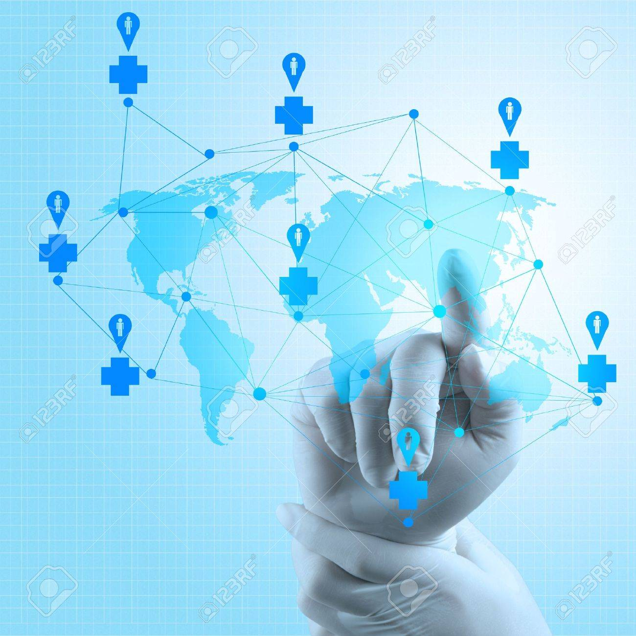 Medical Docto rhand  pointing at a world map as medical network concept Stock Photo - 18237532
