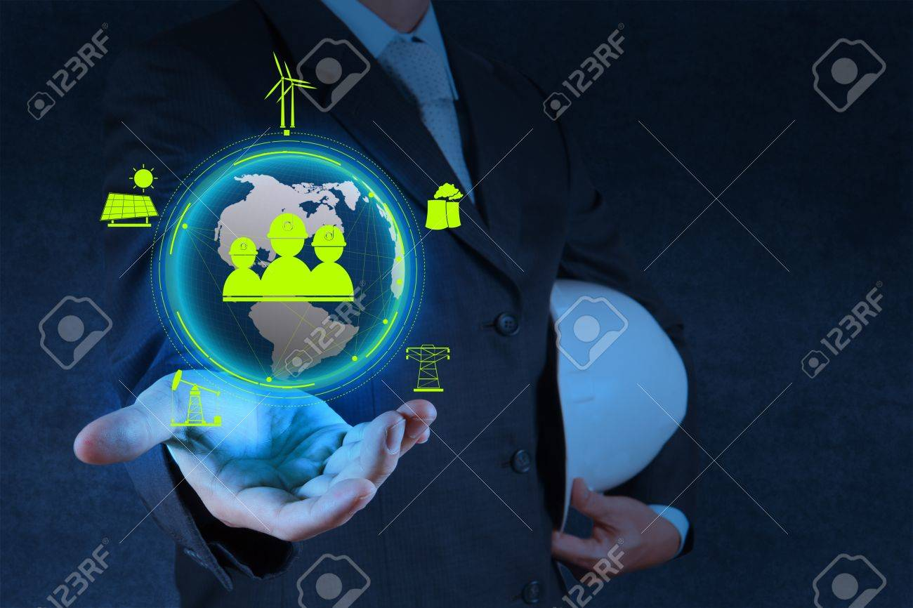engineer hand show world of industry as concept Stock Photo - 18237525
