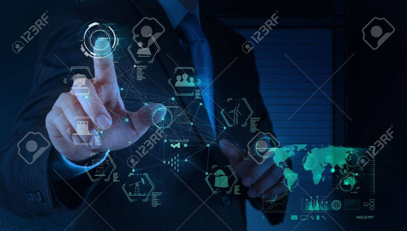 business engineer hand works industry diagram on virtual computer as concept Stock Photo - 18988485