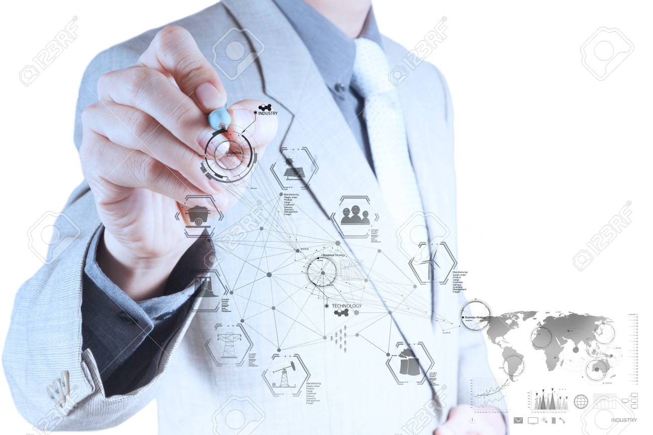 business engineer hand works industry diagram on virtual computer as industry concept Stock Photo - 18988409
