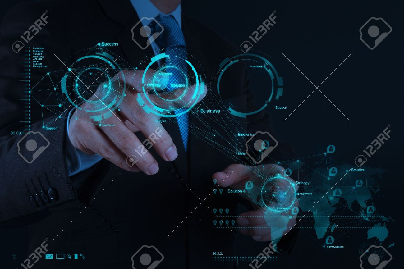 businessman hand working with new modern computer and business strategy as concept Stock Photo - 18988479