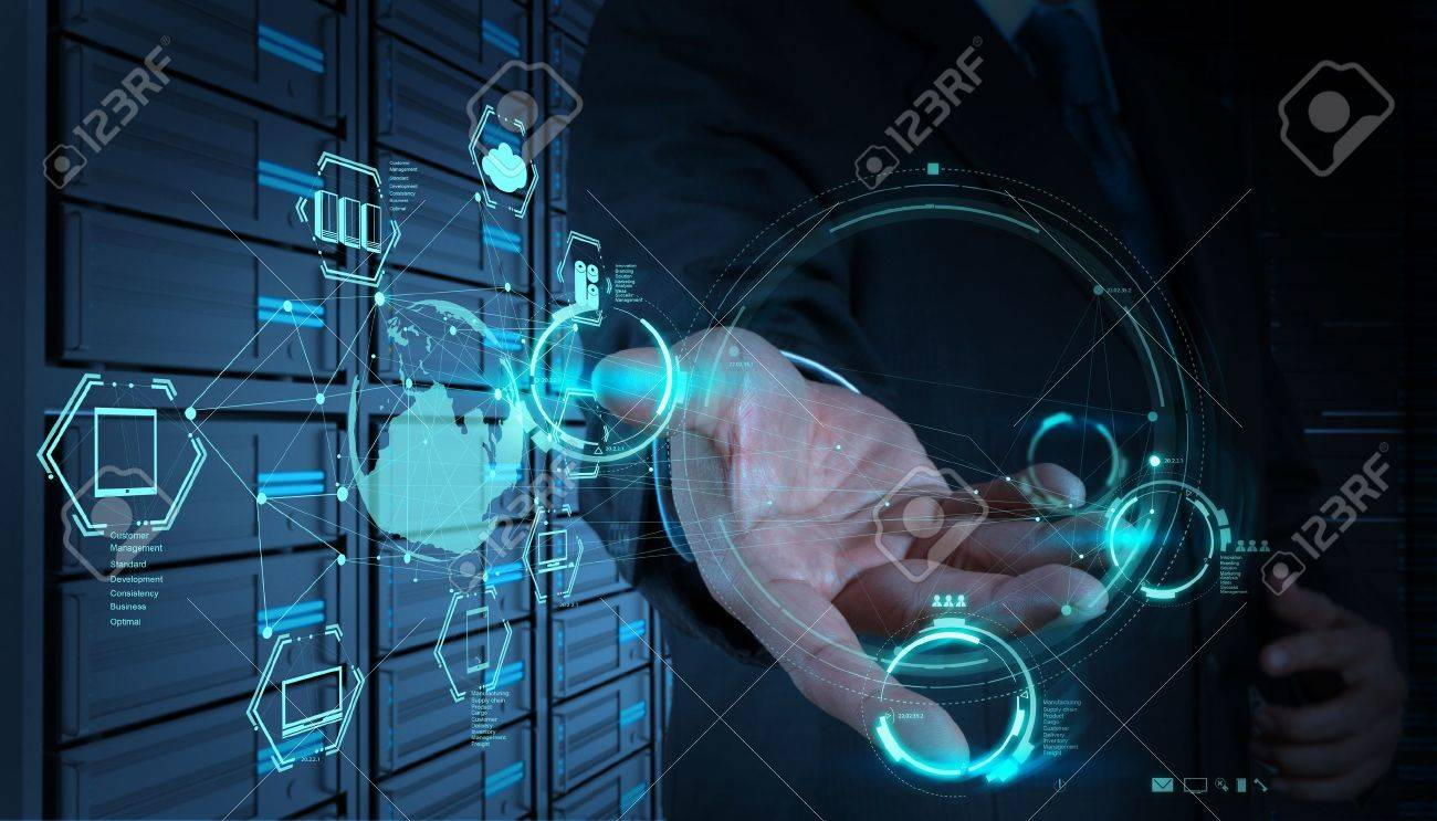 Businessman Hand Working With A Cloud Computing Diagram On The ...