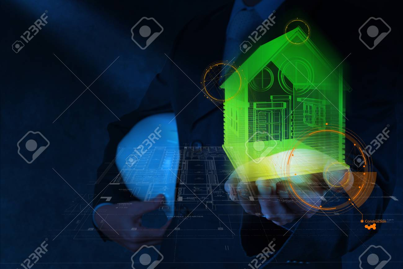 businessman hand shows design house model as construction concept Stock Photo - 18988445