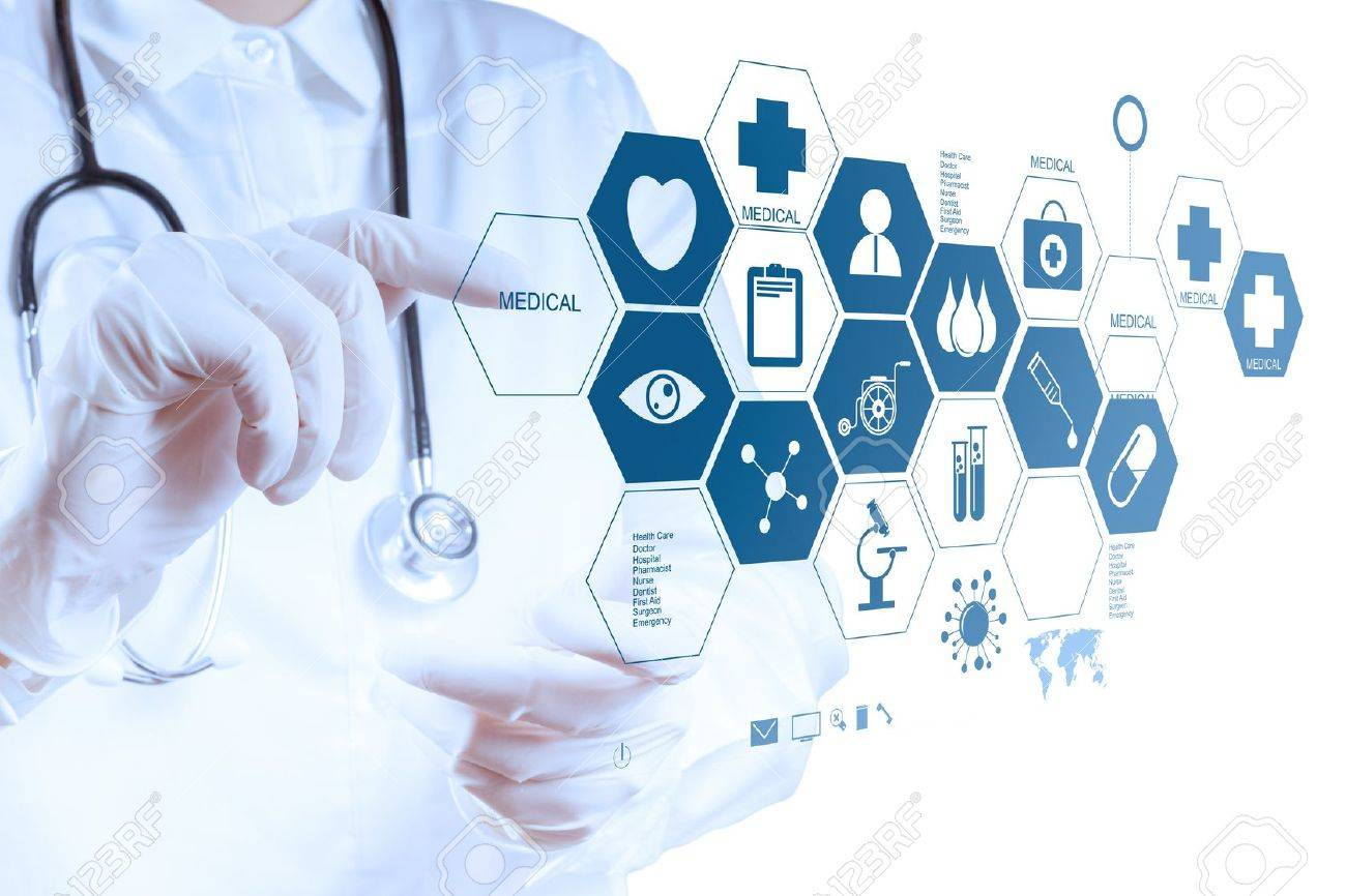 Medicine doctor hand working with modern computer interface as medical concept Stock Photo - 18988826