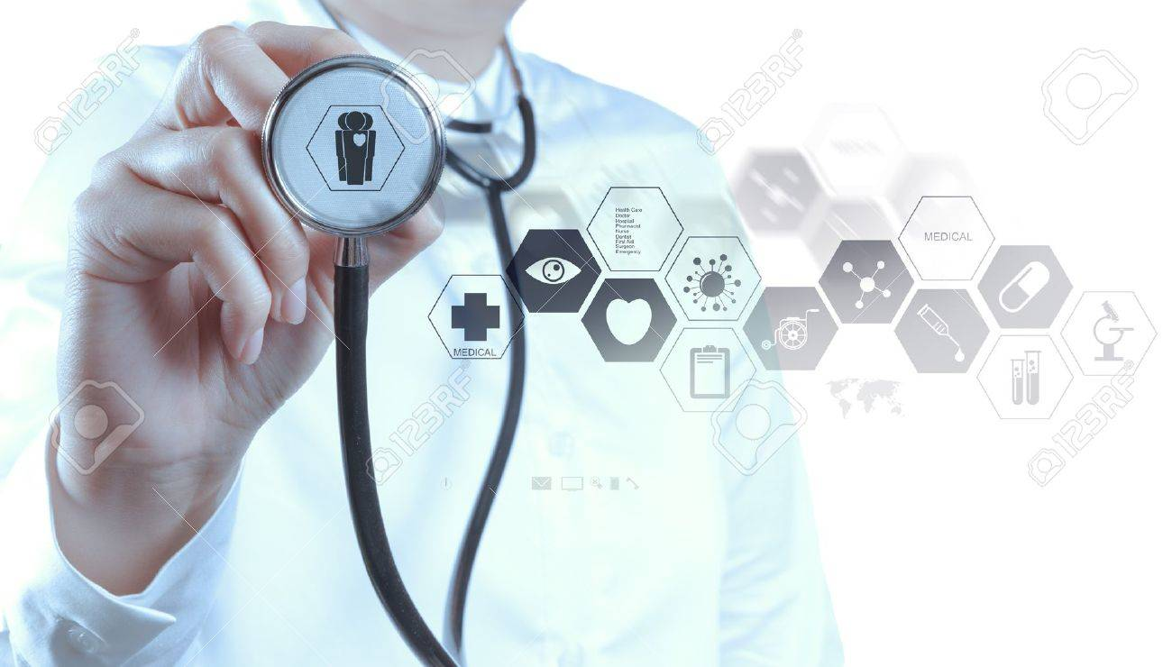 Medicine doctor hand working with modern computer interface as medical concept Stock Photo - 18988860