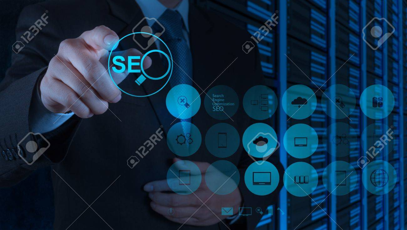 businessman hand showing search engine optimization SEO as concept Stock Photo - 19646329