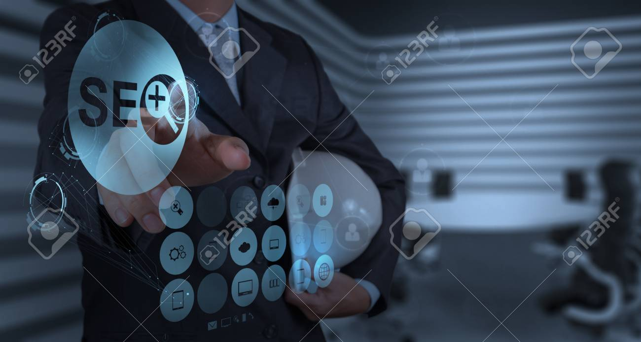 businessman hand showing search engine optimization SEO as concept Stock Photo - 20101421