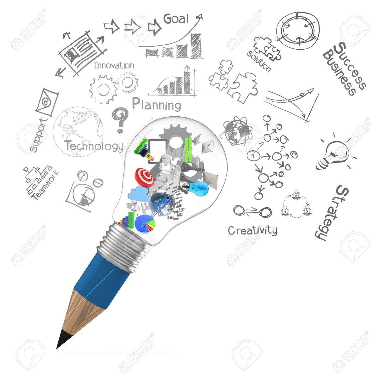 creative design business as pencil lightbulb 3d as business design concept Stock Photo - 20100381