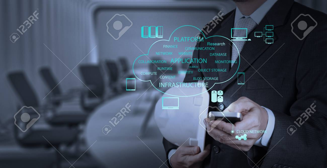 businessman hand use smart phone computer with email icon as concept Stock Photo - 20101153